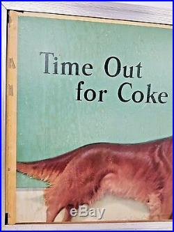 Vtg Coca Cola Time Out For A Coke Woman & Irish Setter Litho Cardboard Sign 1950