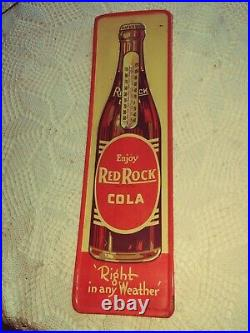 Vtg Red Rock COLA Soda Beverage Embossed Tin Thermometer Sign 1940's-1950's