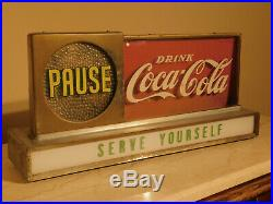 WORKING Coca Cola Lighted Motion Advertising Countertop Sign Vintage 1950's Coke